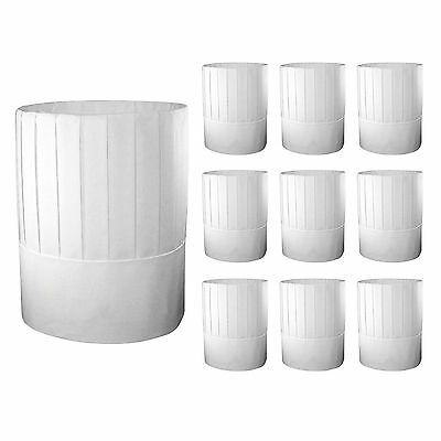 10pc White Disposable Paper Chef Hats Restaurant Cooking Kitchen Serving Hats