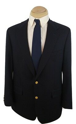 Brooks Brothers Blazer Navy Blue Wool Jacket Coat 2 Gold Buttons Usa size 44L
