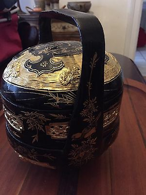 Vintage Gold And Black Lacquer Chinese Wedding Basket with Birds