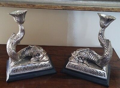 Vintage Silverplate Koi Dolphin Fish Candle Sticks Holders Bookends Asian Chic