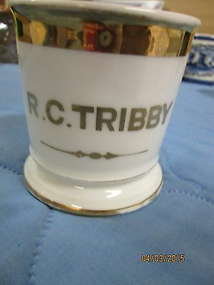 19th Century Antique Personalized Shaving Mug D & Co R. C. Tribby