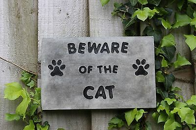 Stone House Sign,Beware of the Cat, Stone Wall Decor, Cornwall Stoneware Gift
