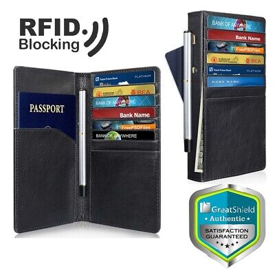 GreatShield RFID Blocking PU Leather 10 Slot Passport Card Holder Wallet Cover
