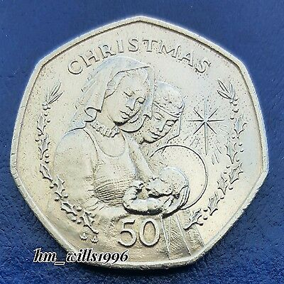1990 Fifty Pence 50p Gibraltar Madonna with Child Christmas Coin Rare
