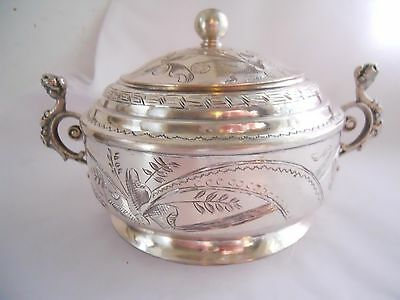 Floral Engraved 84 Silver Covered Sugar Bowl With Female Figural Handles