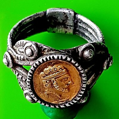 Beautiful Silver And Golden Roman Ring With Roman Emperor's Bust