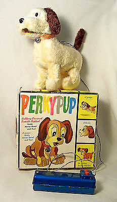 VINTAGE BATTERY OPERATED REMOTE CONTROL PERKY PUP DOG WORKS ALPS JAPAN 1960s MIB