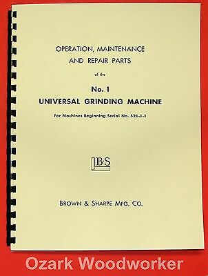 BROWN & SHARPE No 1 Universal Grinder Operator's Parts Manual 0097