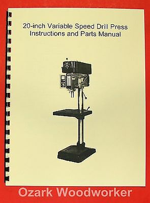 "JET/Asian JDP-20VS 20"" Variable Speed Drill Press Operator's & Parts Manual 0392"