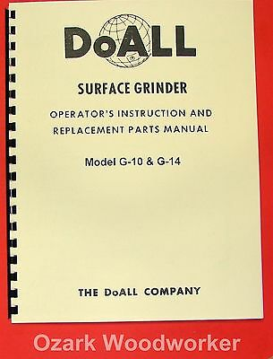 DoALL G-10 & G-14 Surface Grinder Instruction & Parts Manual 0275