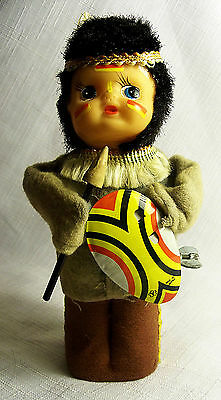VINTAGE WIND UP DANCING INDIAN WITH SPEAR TIN TOY YONEZAWA JAPAN 1950's WORKS