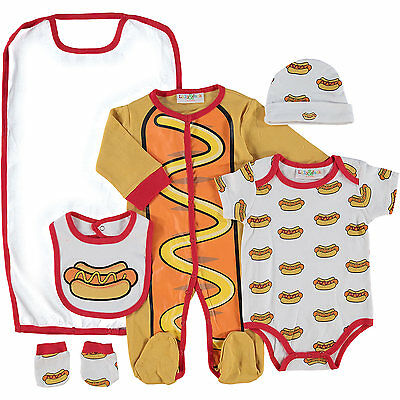 Quirky Hotdog Design Baby 5 Piece Layette Clothing Gift Set by Lily & Jack