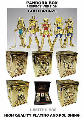 Saint Seiya 5x Bronze (Gold) Saints Diecast Pandora Box PERFECT VERSION -Limited