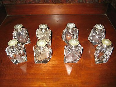 8 Vintage Cut Glass Salt / Pepper Shakers Sterling Silver Lids Birks