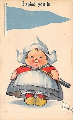 """Charles Twelvetrees~Chubby Dutch Girl With Telescope~""""I Spied You"""" Pennant PC"""