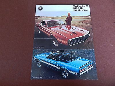 1969 Mustang Shelby Gt 350 500 Original Ford Dealer Showroom Sales Brochure 69