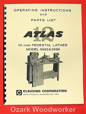 "ATLAS/CRAFTSMAN 12"" Pedestal Metal Lathe 3995 & 3996 Parts Manual 0047"