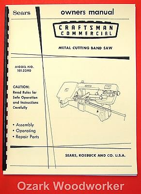 Craftsman 101.2290 Metal Cutting Band Saw Instructions & Parts Manual 1073