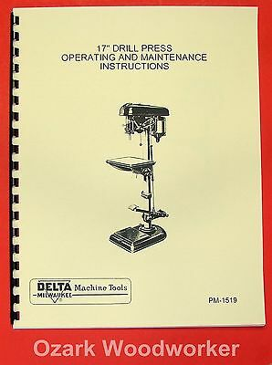 "DELTA-MILWAUKEE 17"" Drill Press Instructions & Parts Manual with FOOT FEED 0240"
