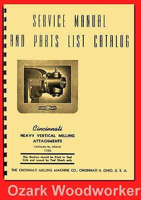 Cincinnati Heavy Vertical Milling Machine Attachment Service & Parts Manual 1159