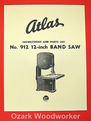 "ATLAS 912 12"" Band Saw Operator Parts Manual 0030"