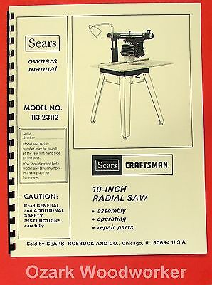 CRAFTSMAN 113.23112 Radial Arm Saw Operator Instructions & Parts Manual 0176