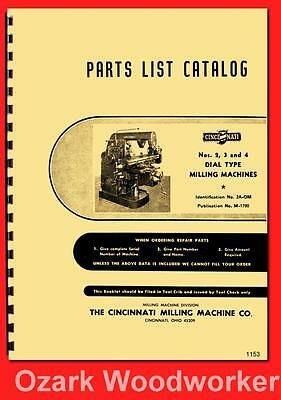 Cincinnati Nos. 2, 3, & 4 Dial Type Milling Machines Model OM Parts Manual 1157