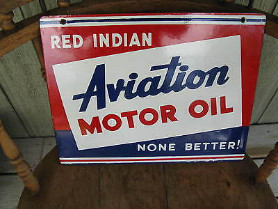 Rare & Authentic Double Sided Red Indian Aviation Motor Oil Porcelain Sign