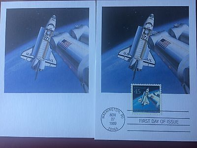 45 cent Space Shuttle  FIRST DAY postcard  + unused picture card (MAXI CARD)