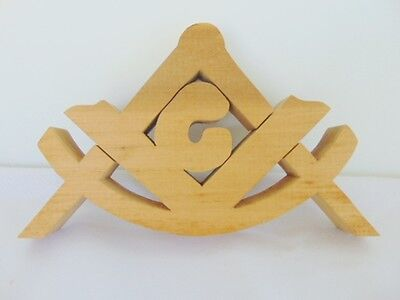 Masonic Hand Made Wood Square And Compasses, Blue Lodge Emblem, Fraternal