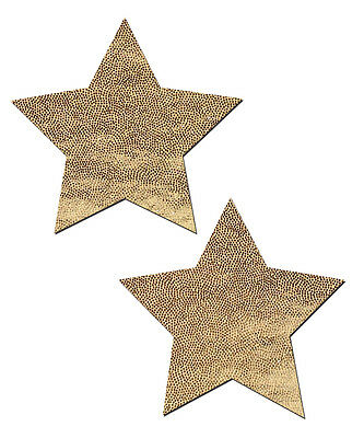 Gold Liquid Star Pasties, Star Nipple Pasties by Pastease o/s