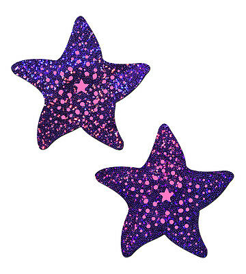 Starfish: Twinkling Purple & Pink Print Sea Star Nipple Pasties by Pastease o/s