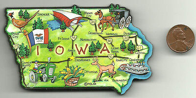 Iowa  Artwood State Map Magnet     Des Moines  Ft Dodge  Dubuque  Iowa City