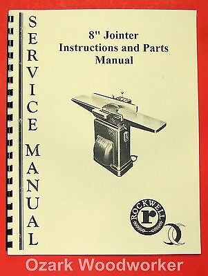 """ROCKWELL-CRESCENT 8"""" Jointer Operator/Parts Manual 0632"""