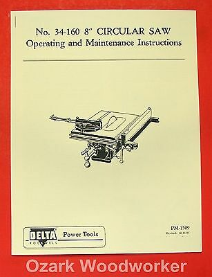 "DELTA-ROCKWELL 8"" Tilting Table Saw 34-160 & 860 Operator & Part Manual 0249"