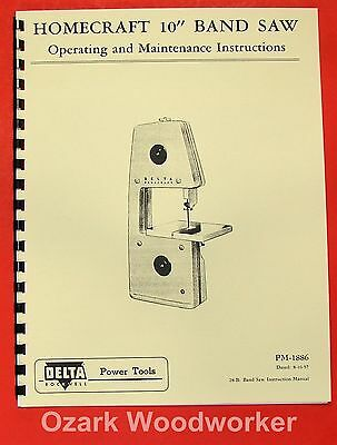 "HOMECRAFT DELTA 10"" Band Saw Instruction Part Manual 0361"