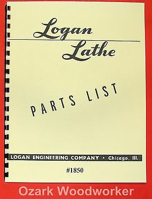 "LOGAN 10"" 1850 Metal Lathe Parts Manual 0445"