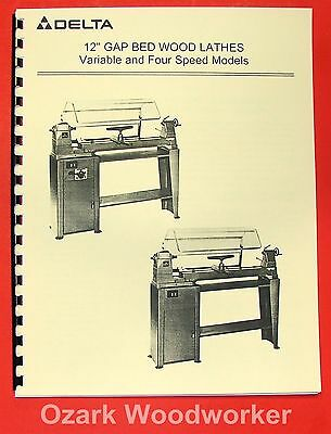 "DELTA-Rockwell 12"" Gap Bed Wood Lathe Operating & Parts Manual 0198"