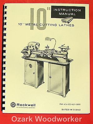 Rockwell 10 inch Metal Lathe Instruction /& Parts Manual   *137