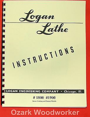 "LOGAN 10"" & 11"" Lathe #1800 #1900 Instructions Manual 0443"