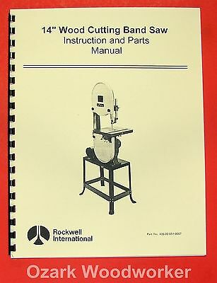 "ROCKWELL 14"" Wood Band Saw Instruction Parts Manual 0593"