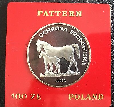1981 Poland Silver Proof Coin 100 Zlotych Zloty Uncirculated Proba Test Horses