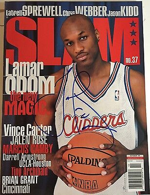 Lamar Odom Signed Slam Magazine Rookie Season Clippers Lakers Mint