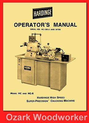 HARDINGE HC & HC-R Chucking Machine Lathes Operator's Manual 1121
