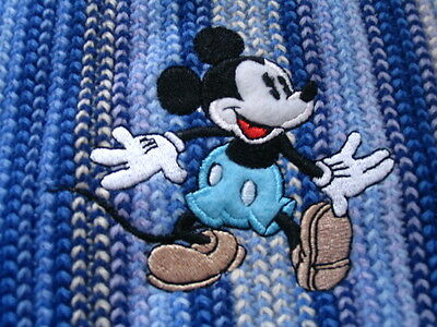 Disney Store Mickey Mouse Blue Embroidered Stripey Scarf Brand New Very Rare