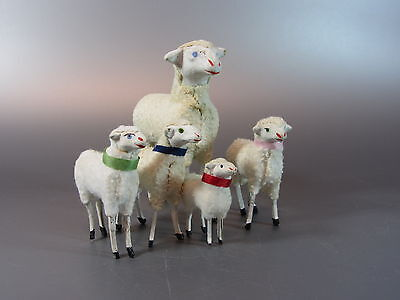 """Vintage Wooly Sheep / wooden stick Legs PUTZ Germany lot of 5 Nativity Lamp 5½"""""""