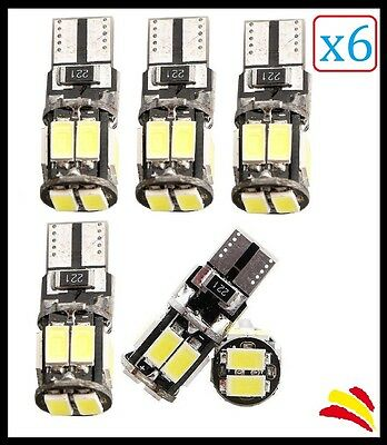 x6 BOMBILLAS T10 W5W LED Canbus No error COB BLANCO AUDI BMW MERCEDES VW SEAT