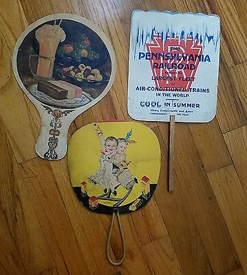 3 vintage hand held fans, advertising, 666, Detroit Creamery, Pennsylvania RR