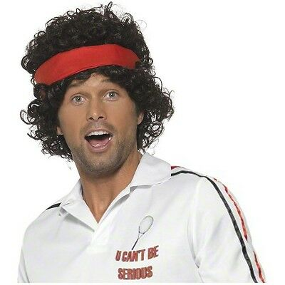 80s Tennis Player Wig Adult John McEnroe Mens Funny Halloween Costume Accessory