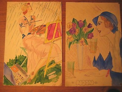 18 Vintage Fashion Sketches C 1932 Hand Drawn Pencil & Watercolor  Amazing !